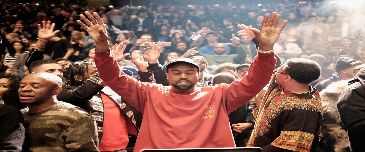 Kanye West at launch of Pablo album in New York, February 2016